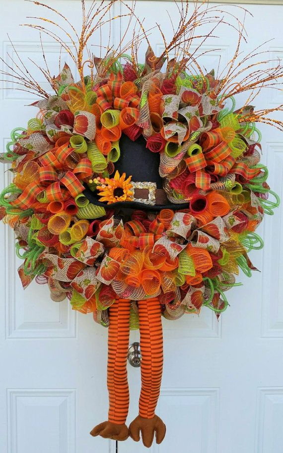 turkey wreath thanksgiving mesh by studiowhimsybybabs on etsy