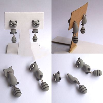 clinging earrings | Clinging Cute Civet Cats Two-Part Earrings from Noirlu on Storenvy ...