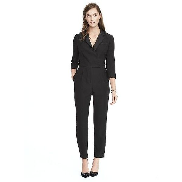 Banana Republic Womens Tuxedo Jumpsuit ($148) ❤ liked on Polyvore featuring jumpsuits, black, petite, banana republic, party jumpsuits, tuxedo suit, dinner suit and jump suit