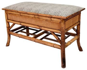 Turn of the Century Bamboo Bench with Storage - modern - bedroom benches - 1stdibs