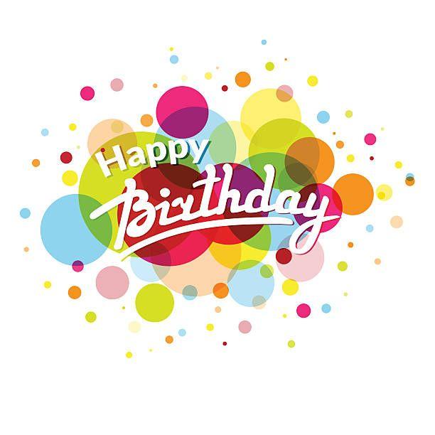 Carte de voeux joyeux anniversaire avec des cercles colorés dans le dos - Illustration vectorielle