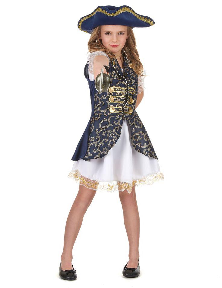 Piraten-Kostüm für Mädchen in dunkelblau