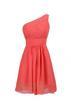 """Neckline:One-shoulder Length:Knee length Details:Ruched Fabric:Elastic Satin,Chiffon Color:Coral Size:Any Size,Made from scratch. Please kindly refer to our """"Notice Before Order"""" Page."""