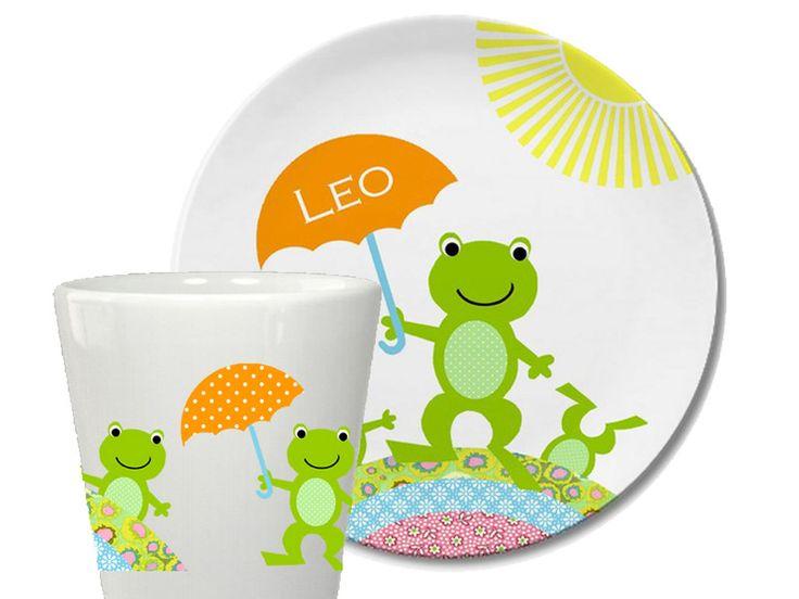 Geschirr - 2teilig Kindergeschirr-WETTERFROSCH-personalisiert - ein Designerstück von HelgaBerrill bei DaWanda
