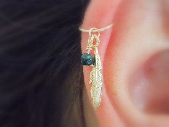 gold Cartilage Earring,feather leaf hoop, gold filled cartilage Hoop Earrings, tiny hoops, helix piercing.