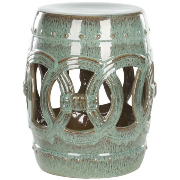 Accent your garden, patio, or any indoor room with this paradise double coin blue ceramic garden stool. Handmade of quality ceramics, this stool can be used outside or inside as an extra seat, foot re