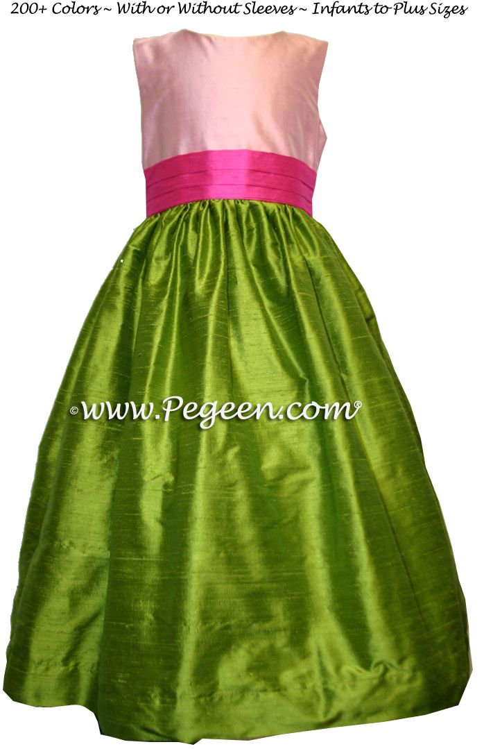 81 best posh flower girls images on pinterest floral dresses bubblegum pink grass green and hot pink silk flower girl dresses mightylinksfo
