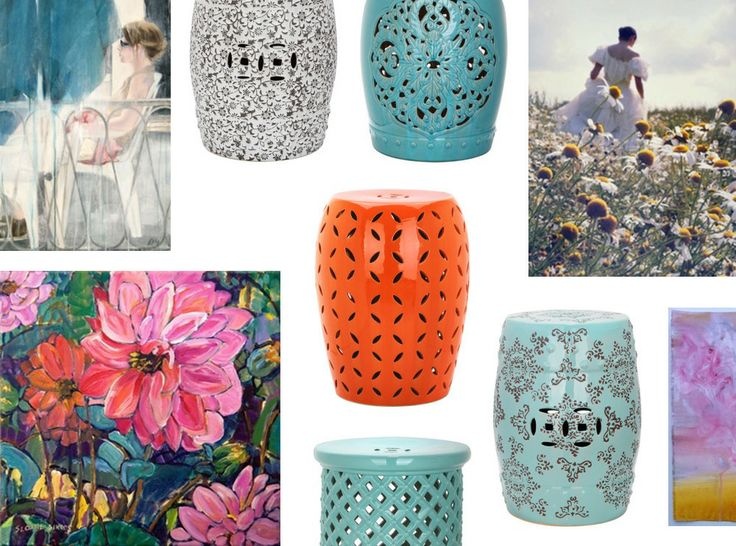My painting in @Domino Campellone magazine deals today :-) #art #floral #decordeal | Garden Stools and More