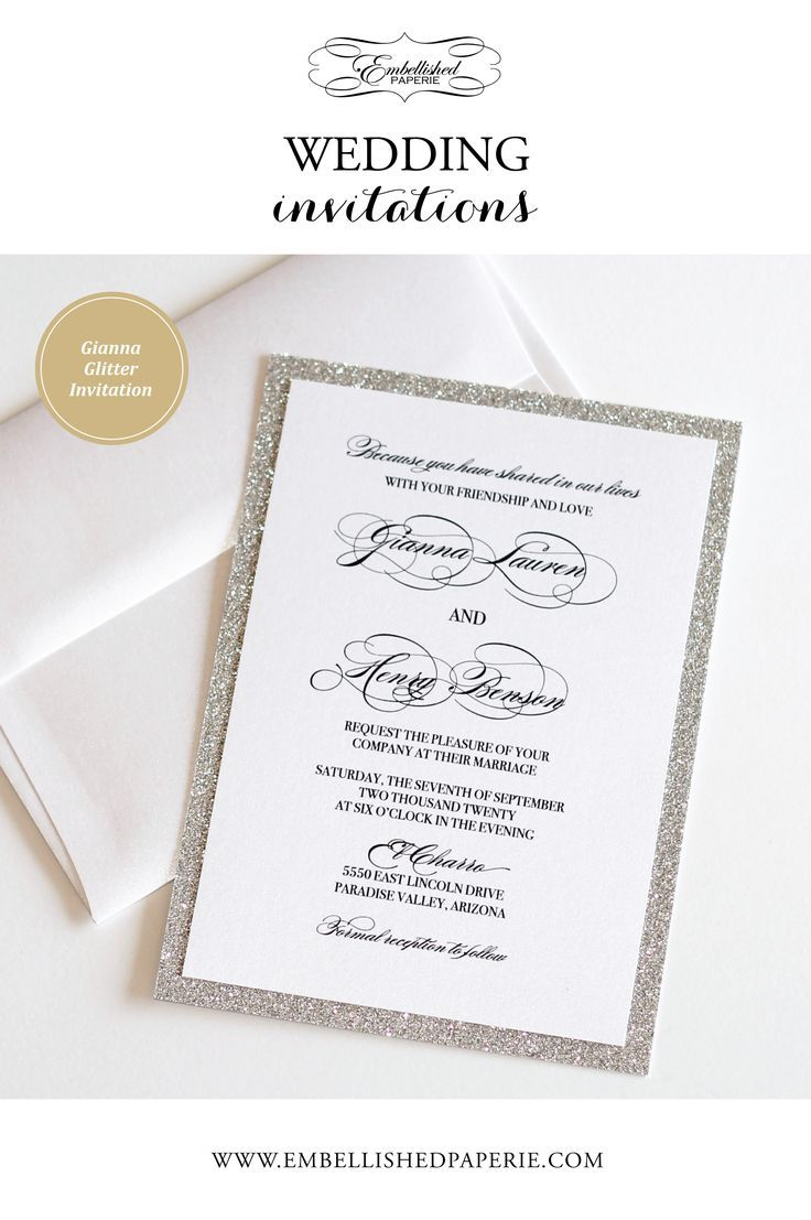 Silver Glitter Wedding Invitation Modern Wedding Elegant Etsy Silver Glitter Wedding Invitations Wedding Invitations Silver Glitter Wedding