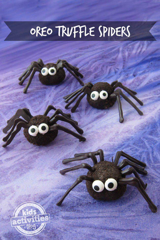 Halloween is the perfect time of year to make creepy crawly snacks like these cute Oreo Truffle Spiders!
