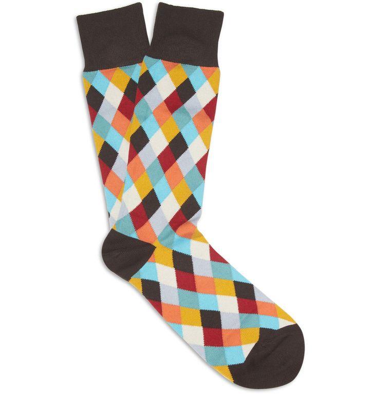 Paul Smith Shoes & Accessories Diamond-Patterned Cotton-Blend Socks | MR PORTER