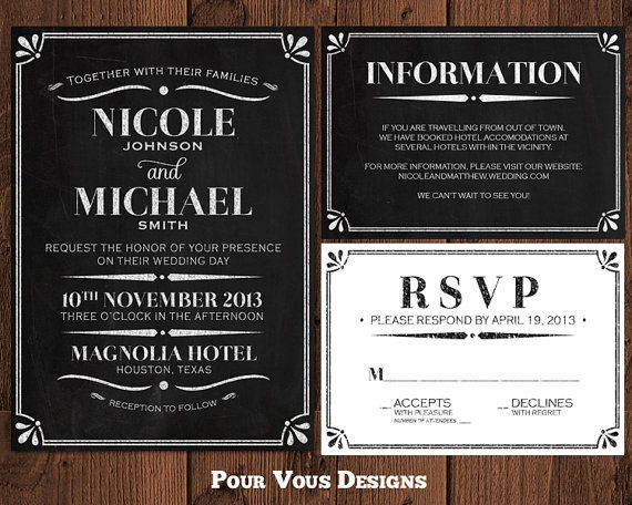 Chalkboard Wedding Invitation  Black & White  by PourVousDesigns, $30.00