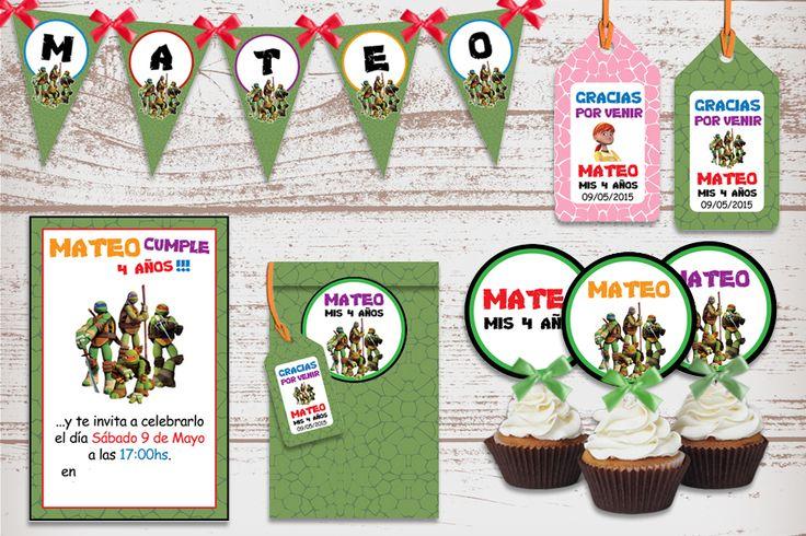 Kit Imprimible Cumpleaños Infantiles Tortugas Ninja Nene Varón  http://elitakits.blogspot.com.ar/2015/05/kit-imprimible-cumpleanos-infantiles.html#more