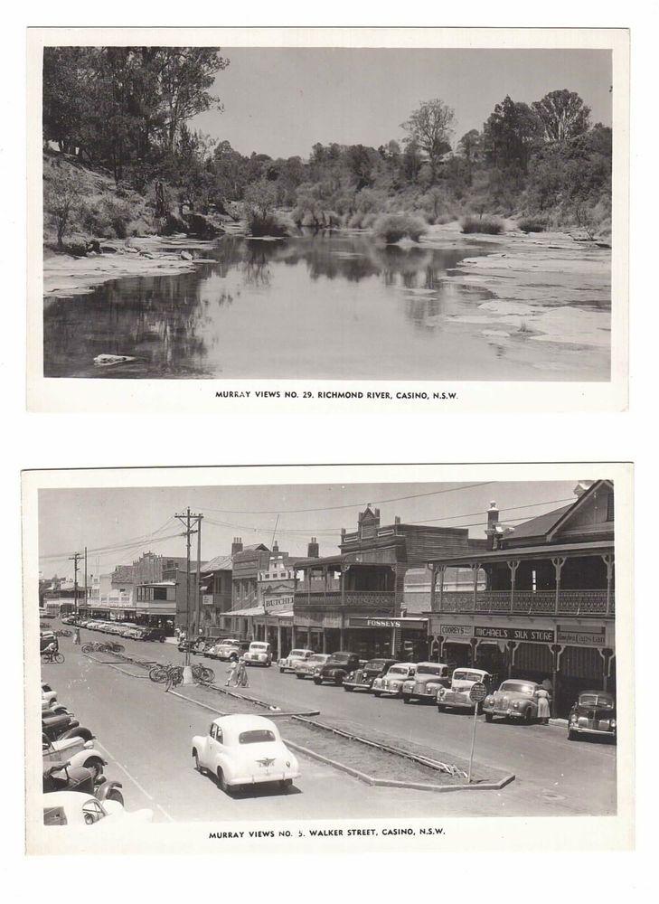 Australia, NSW, Casino, Richmond River, Shops in Walker St, Photo Postcards (x2)