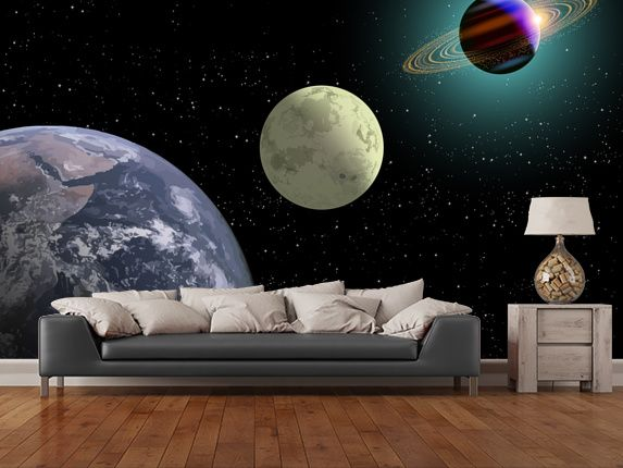 Earth Moon And Saturn With A New Sun Wall Mural Part 36