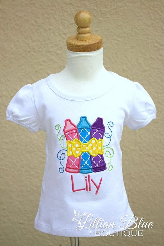 Back to School Applique Shirt Crayon Love by LillianBlueBoutique