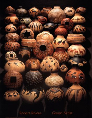 """Robert Rivera is the Dean of gourds - my most treasured gourd artist whose work I admire, collect and revere. Yes, """"Revere Rivera""""!"""
