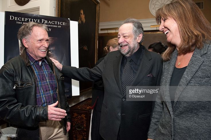 Dick Cavett, Ricky Jay, and wife Chrisann Verges attend the 'Deceptive Practice: The Mysteries And Mentors of Ricky Jay' screening at The Players Club on April 15, 2013 in New York City.