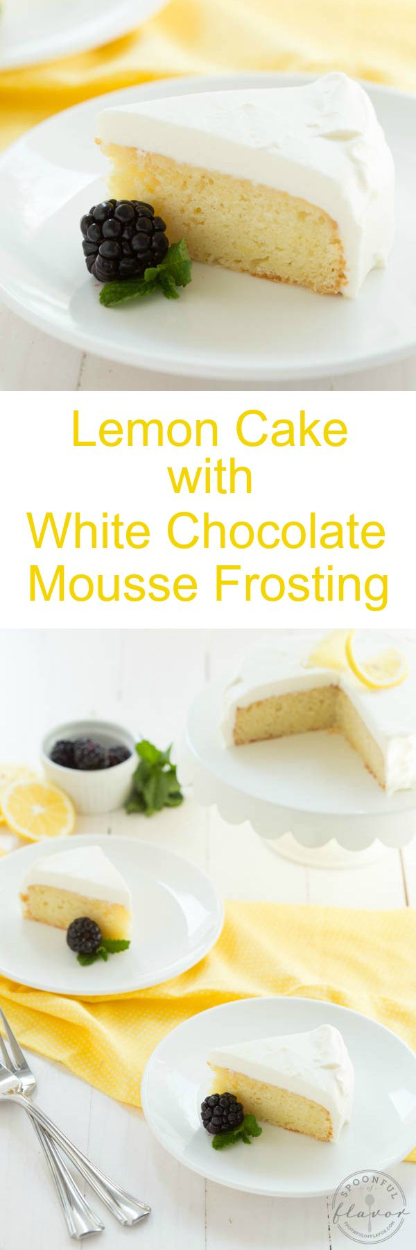 Lemon Cake with White Chocolate Mousse Frosting - a beautiful small cake perfect for two people!