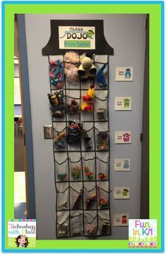 A Class DOJO Prize Center.  This is an easy way to set up a reward system for students to be rewarded for their points.  The signs are available for free download.  Easy to make and out of the way.  Really adds to your classroom management system.