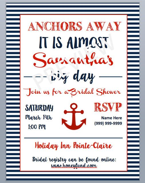 Nautical Bridal Shower Invitation by NAUTIweddings on Etsy