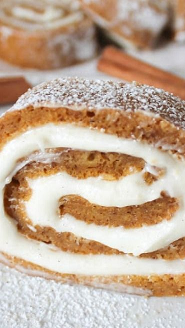 Easy Pumpkin Roll Dessert Recipe ~ Easy pumpkin cake rolled up with delicious cream filling
