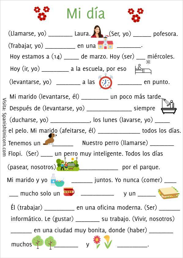 Verbos Reflexivos Regulares Ejercicios Ejercicios Para Aprender Español Enseñando Español Ejercicios De Español