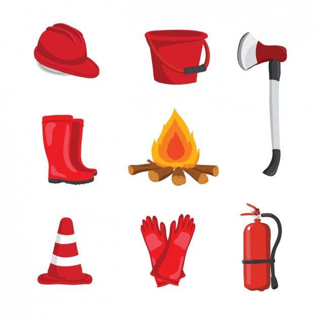 conception de l'équipement de pompier Vecteur gratuit