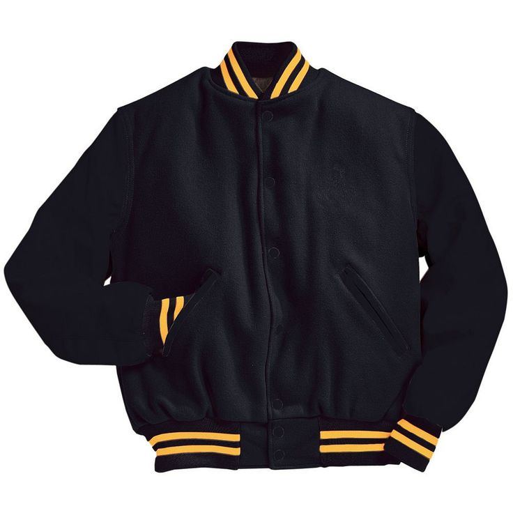 Solid Black Varsity Letterman Jacket with Light Gold Stripes Black and Light Gold Varsity Letterman Jacket from Mount Olympus Awards.  Genuine leather sleeves and trim with premium melton wool body.  Typically ships in 24 to 48 hours unless customized with embroidery or letterman jacket patches such as a varsity letter.