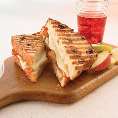 Apple, Cinnamon & Raisin Panini: Apples and cheese make a great filling for cinnamon raisin bread in this pressed sandwich.