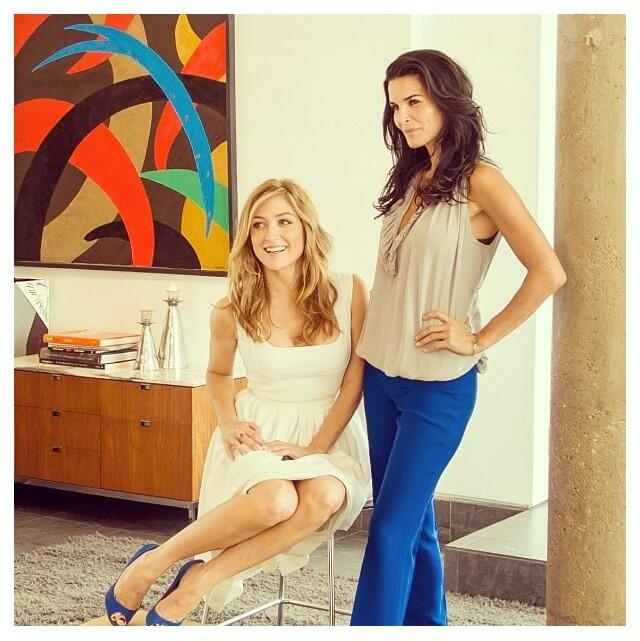 Sasha and Angie-I like the blue highlights with their cream clothing! Beautiful!