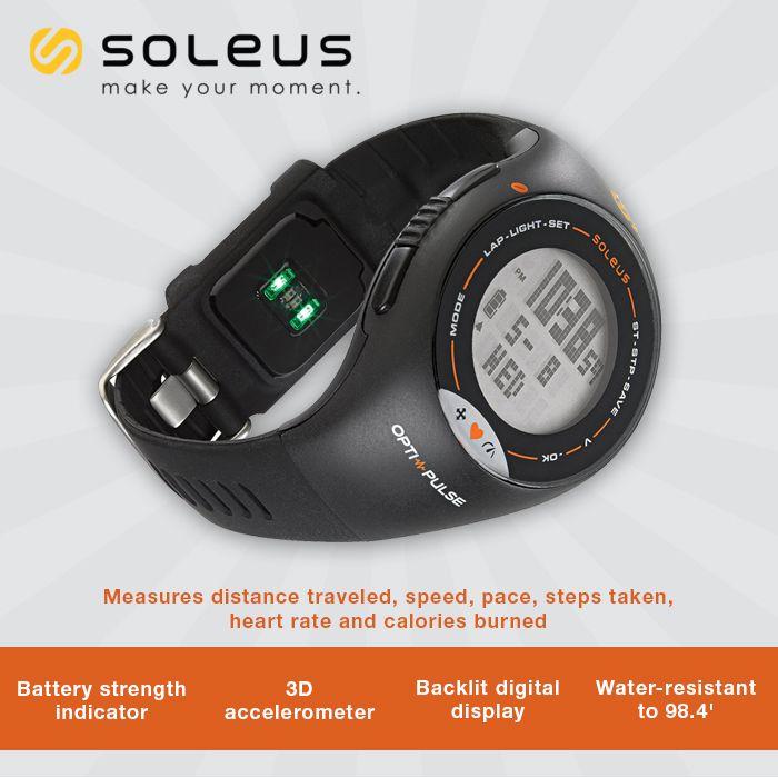 Mide la distancia recorrida, la velocidad, el ritmo, los pasos tomados, la frecuencia cardíaca y calorías quemadas  con Soleus Men's SH006-030 Pulse Digital Display Quartz Black Watch