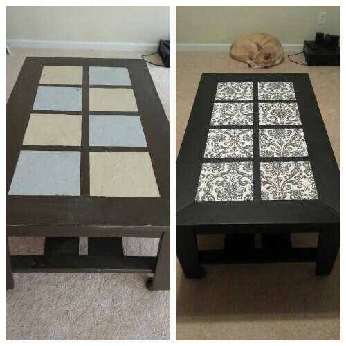 coffee table refinish paint and mod podge fabric