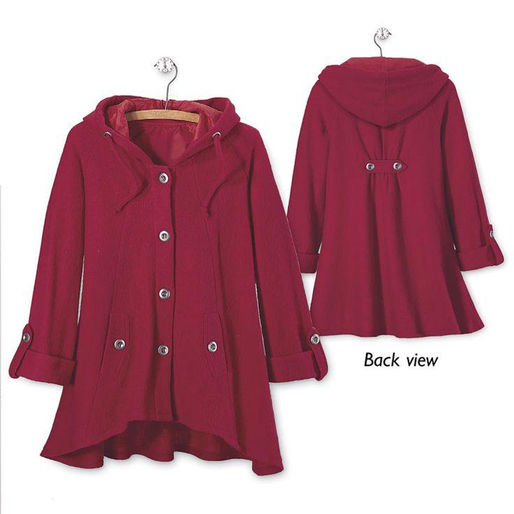 NorthStyle Hooded Boiled Wool Jacket (Red or Black) - $90