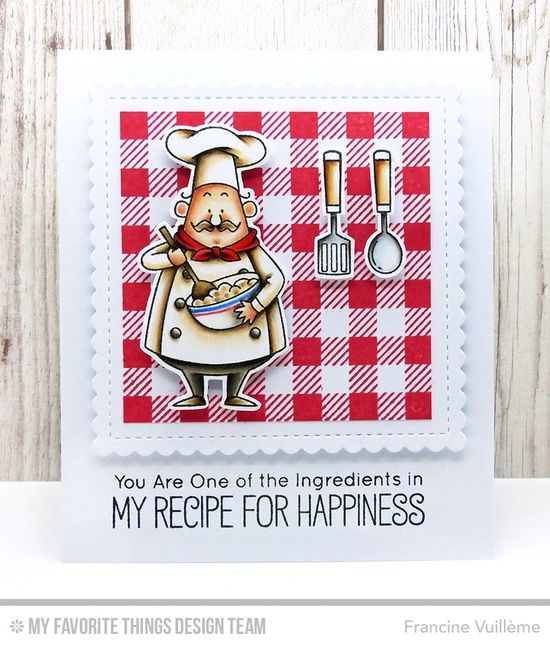 Recipe for Happiness, Gingham Background, Recipe for Happiness Die-namics, Stitched Mini Scallop Square STAX Die-namics - Francine Vuillème  #mftstamps