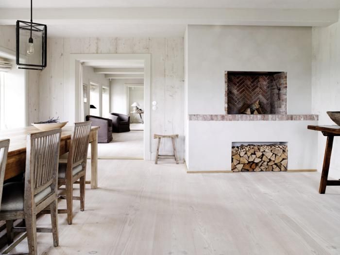 A minor brick detail accents the Dinesen wood floors; see our post on Walls, Windows & Floors: Dinesen Wooden Floors in Denmark.