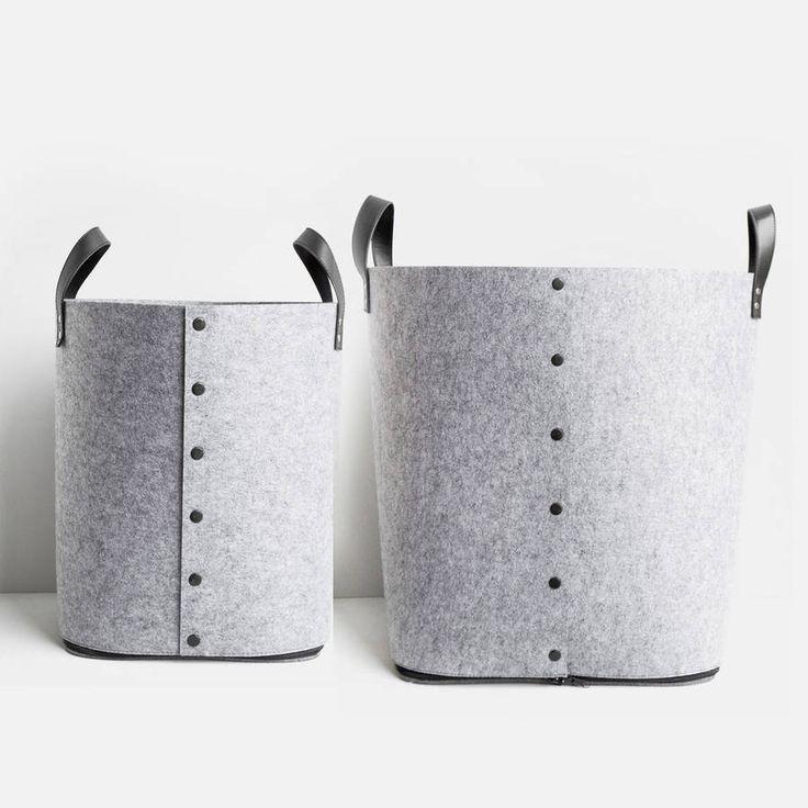 Grey Button Up Felt Storage Bag