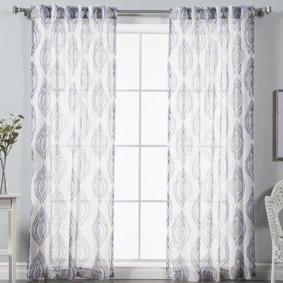 darby home co baynham medallion damask sheer curtain panels color navy - Sheer Curtain Panels