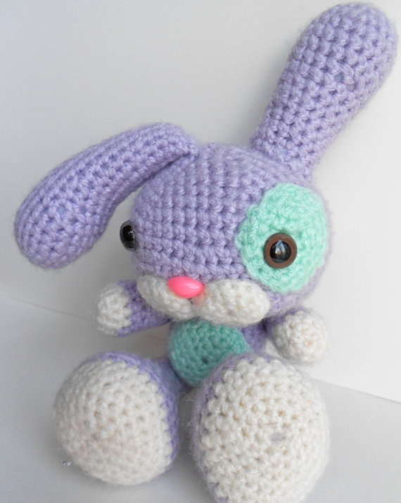 Amigurumi Easter Rabbit, Lilac with Mint Green Patches.:  Teddy Bears, Mint Green, Crochet Toys, For Kids, Green Patches, Amigurumi Bunnies, Crochet Amigurumi, Rabbit Lilacs, Plush Toys