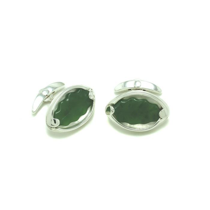 Bespoke Raukawa Leaf Cuff Links crafted with pounamu (greenstone) and set in sterling silver.