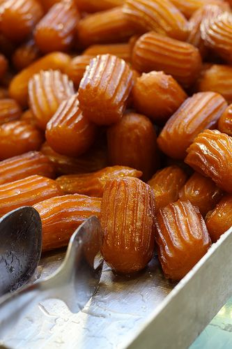 Tulumba :Turkish dessert of fried dough soaked in syrup