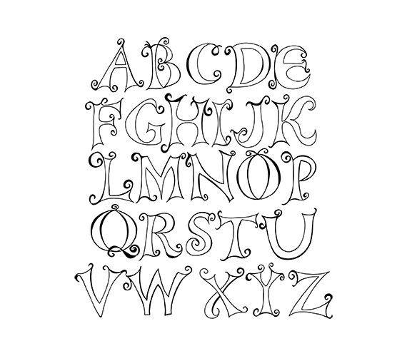 Doodle Capital Letter Alphabet Digital Clipart