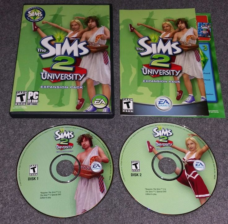The Sims 2 University Expansion Pack PC CD-ROM In Case w/ Instructions