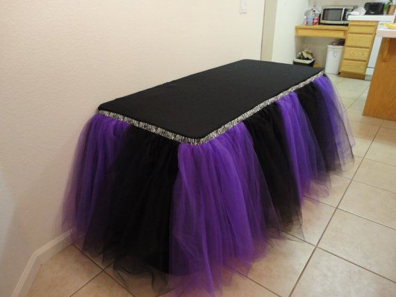 purchase of purple table skirting | Purple Black and Zebra Table Tutu Skirt
