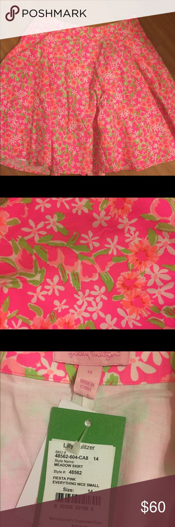 """NWT Lilly Pulitzer Neon Fiesta Skirt NWT! Beautiful neon Lilly skirt perfect for summer! A fun skirt to brighten any outfit. Measures 22"""" waist to hem. Lilly Pulitzer Skirts"""