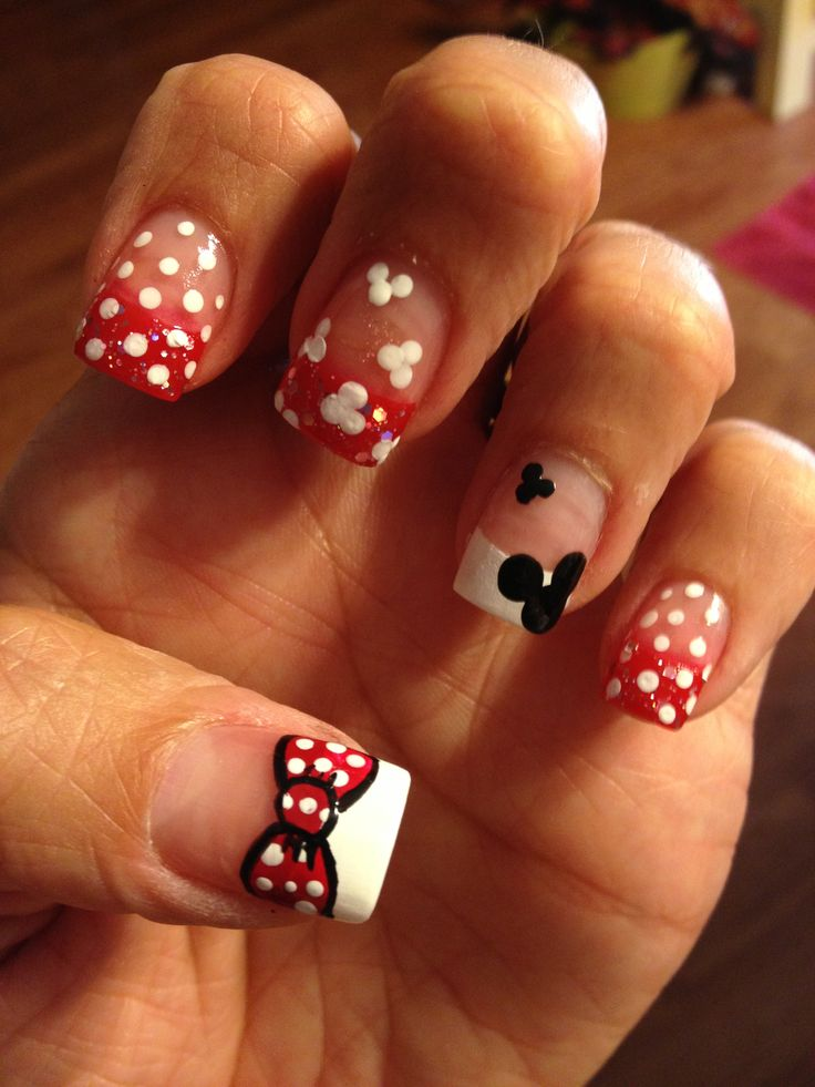 Minnie Mouse nails. Even when your running a half marathon... Your nails gotta be just right ;)