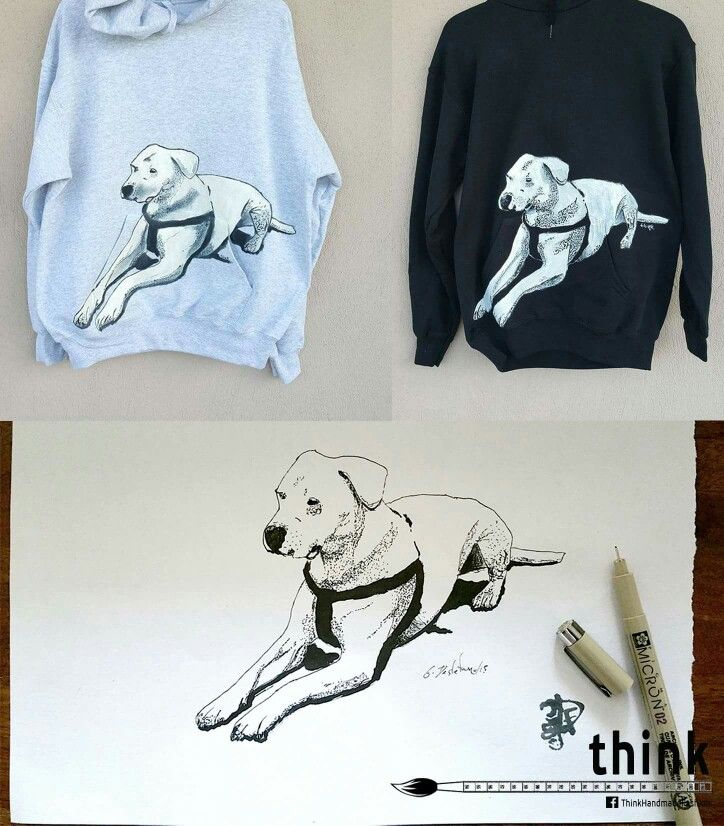 Handpainted dogo argentino illustration on hoodies.