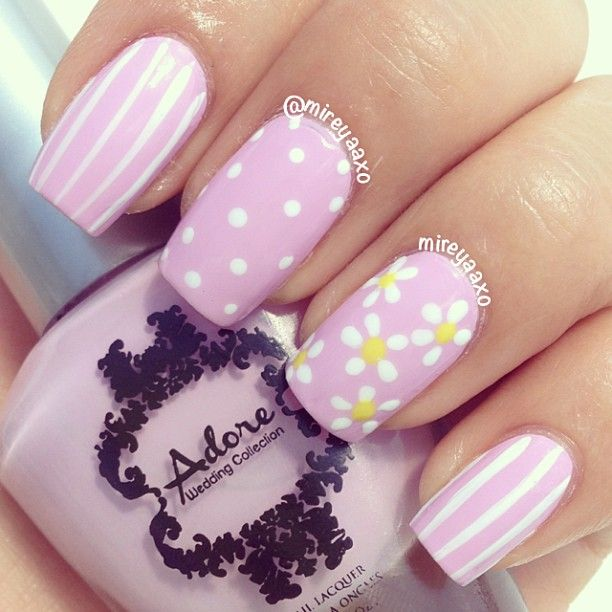 Instagram media by mireyaaxo - Using  this perfect color by @adore_nail_polish Blushing Bride  With Zoya-Purity and @julepmaven Abbie  Stripes, flowers and dots using @winstonia_store 8 pc nail art brush and dotting tool set!