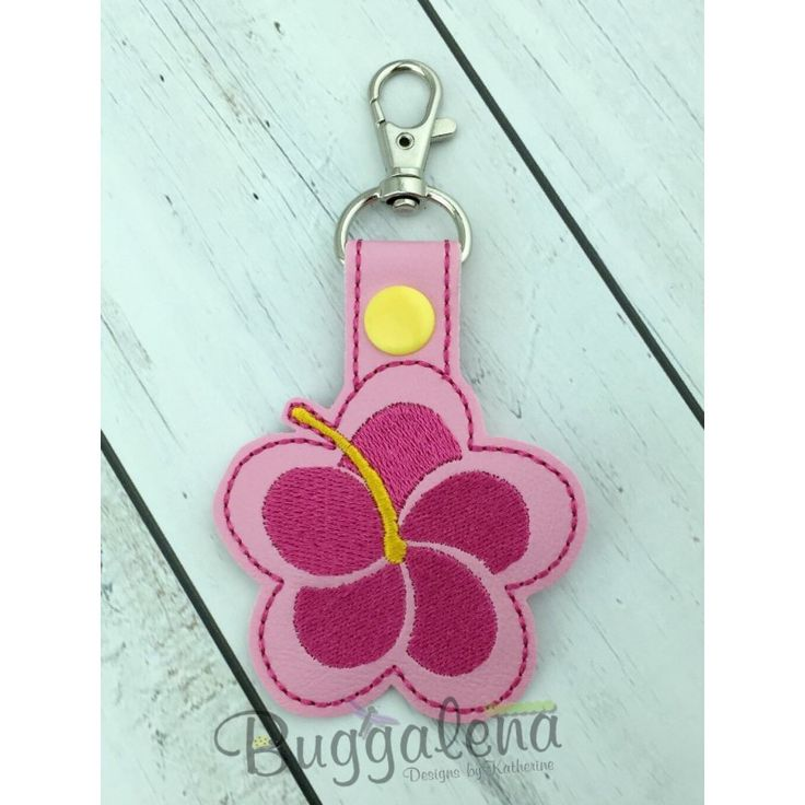 Hibiscus Snap Tab Key Fob Embroidery Design-Key Fobs / Snap Tabs...                                                                                                                                                                                 More