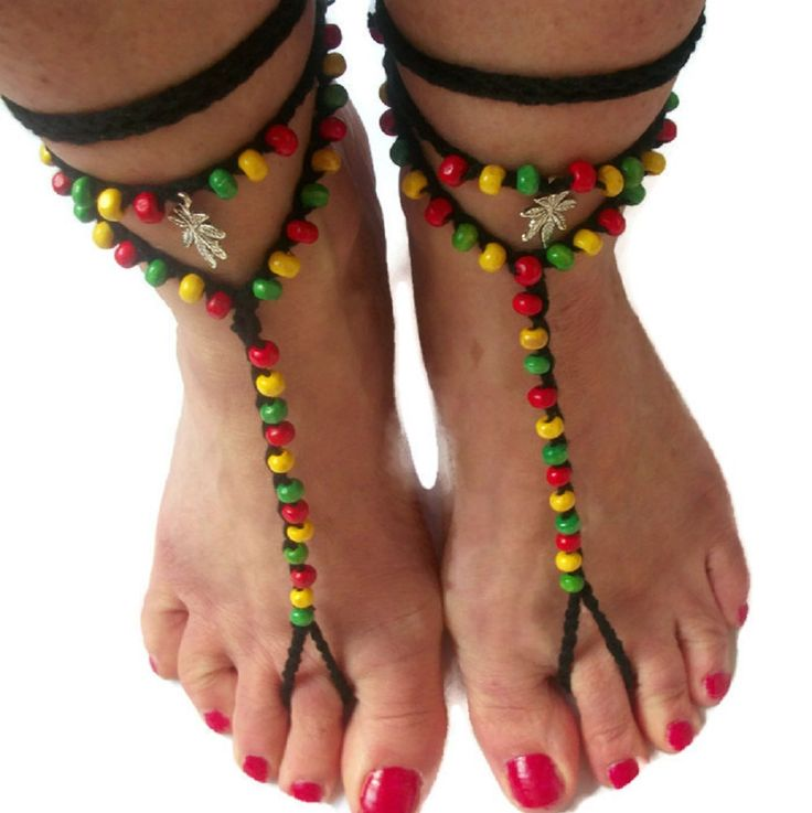 Rasta Barefoot sandals. Tribal Gypsy Soleless Crochet Beach Yoga Festival Pool Slave anklet by thekittensmittensuk on Etsy